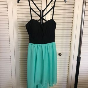 Black and Teal High Low Dress